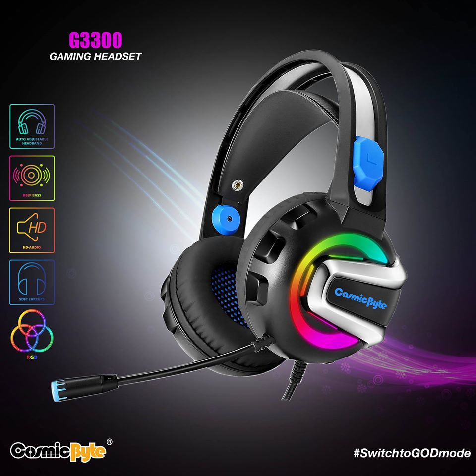 Cosmic Byte G3300 Rings 7 RGB Color Colors Wired Headset Gaming Headphone –  Games N Gadget